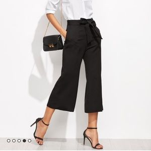 Cropped tie high waisted black pant